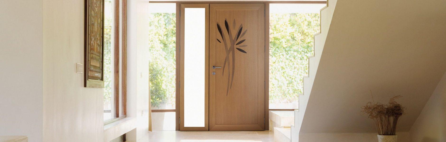 Portes d'entrée PVC imitation bois design